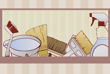 Eine Reinigung Versorgung Hintergrund in einer Hand gezeichnet-Stil getan. Einige lineare Farbverläufe verwendet. Reinigung Elemente sind auf derselben Ebene zusammengefasst. Red Grenze und Hintergrund sind auf separaten Ebenen. Elemente sind vollständig und zugeschnittenes über Schnittmaske.  Standard-Bild - 5530432
