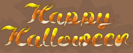 幸せなハロウィーン キャンディ コーンのテキスト。手描き本文イラスト。トップ概要、黄色部分、白いセクションおよび主なシェーディングは、別  イラスト・ベクター素材