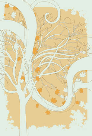 Illustration of fall leaves blowing through a bare tree.  Vector