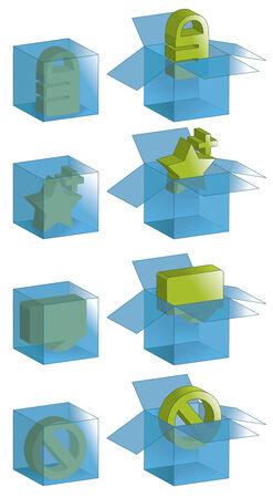 Open vakken, gesloten dozen en alle contouren zijn op aparte lagen.  Stock Illustratie