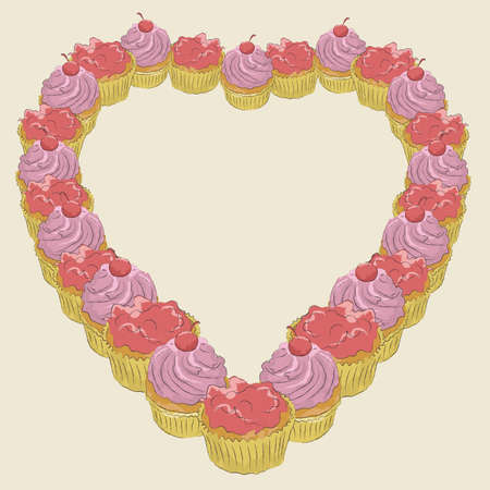 Cupcakes are all grouped on same layer. Easy to addsubtract and change colors.  Vector