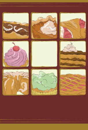 Each dessert item is on separate layers.  Vector