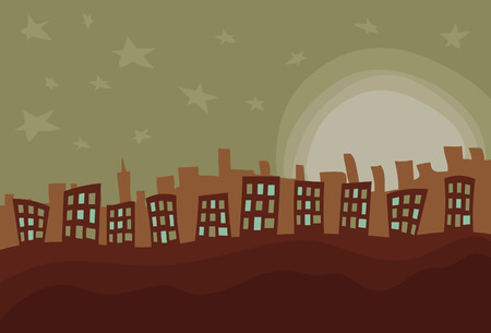 Foreground shapes, moon and stars, front buildings, and back buildings are all on separate layers. Front buildings are separate from bottom foreground. Easy to add or subtract.
