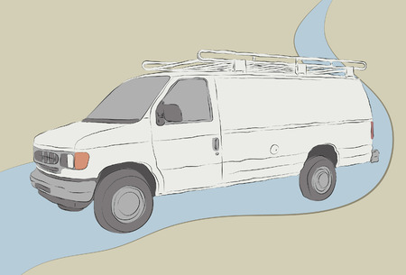 Messy hand drawn work van illustration. Outlines, fill colors, background and road outline are all on separate layers. Easy to change colors and add elements.