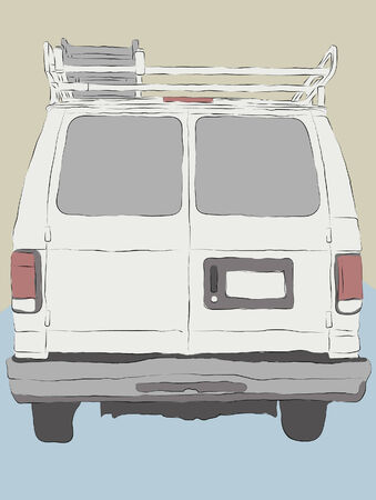 white van: Messy hand drawn work van illustration. Outlines, fill colors and background are all on separate layers. Easy to change colors and add elements.  Illustration
