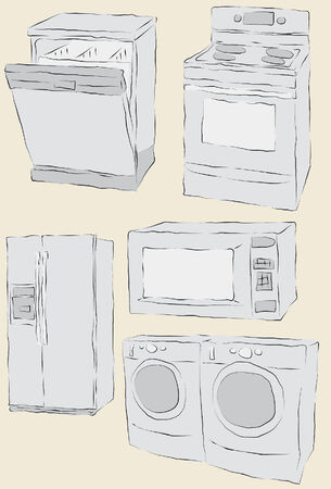 home appliances: Collection of messy hand drawn home appliances. Each item fill and outlines are on separate layers.