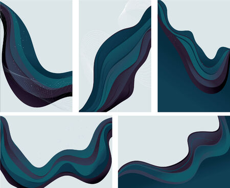 Collection of 5 abstract wave background in shades of blue and purple. Each background is grouped on its own layer. All lines are expanded. Easy to manipulate and change colors.  Vector