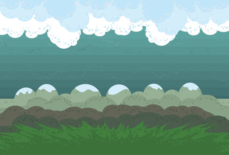 Clouds, background, mountains and grass are all on separate layers. Actual illustration extends a little and is cropped via clipping mask.
