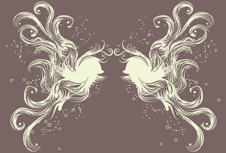 For both birds, the head, body and wing elements are on separate layers. So is the background hearts and spots. Lines are not a compound shape and are separated from each other. Vector