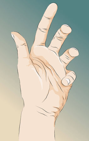 outstretched: Roughly drawn stylized open hand illustration. Lines, main shape fill, highlightsshading and background are all on separate layers