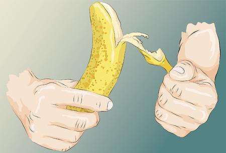 Ruwweg getrokken gestileerde handen schillen van een banaan. Lijnen, belangrijkste vormopvulling, hoogtepuntenarcering voor handen en bananen zijn allemaal op afzonderlijke lagen