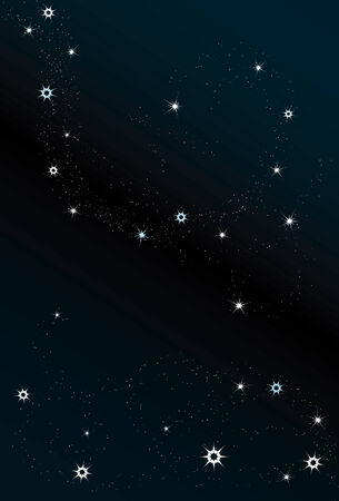 Large, medium and small stars are all on separate layers. Simple linear gradient used for background
