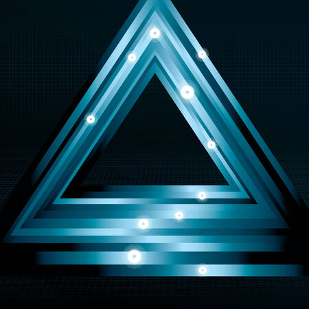 cropped: sparkles, main triangles, back grid, bottom grid and background are on separate layers. Lines are cropped via clipping mask. Simple linear gradients are used. Illustration
