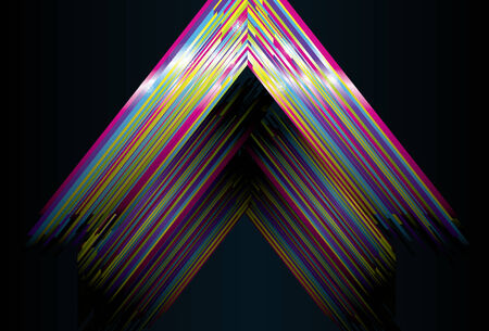 sparkles, top, middle, back triangles and background are on separate layers. Lines are cropped via clipping mask. Simple linear gradients are used.