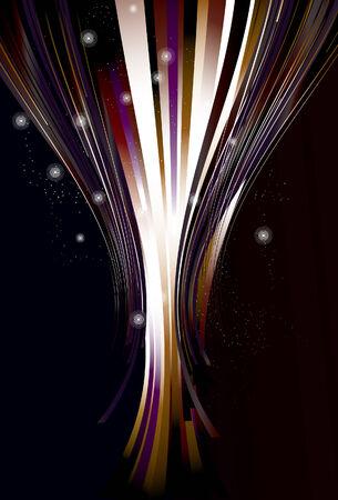 Sparkles, vlekken, top dunne lijnen, dikke lijnen en achtergrond lijnen zijn op afzonderlijke lagen. Lijnen zijn bijgesneden via uitknipmasker. Eenvoudige lineaire verlopen worden gebruikt.  Stock Illustratie