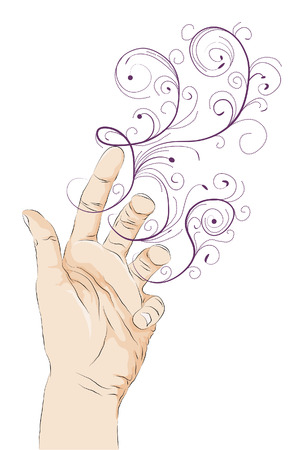 Roughly drawn stylized open hand illustration with swirls. Hand fills, Hand outlines and swirl shapes are all on separate layers.