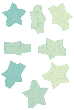 Each star and outline is grouped together on same layer. Fills and Outlines are separate shapes and not a compound path. Easy to change colors for each side of star.