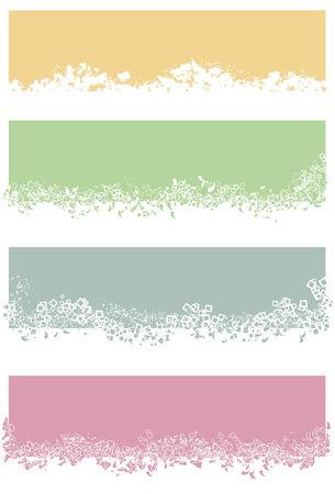 Elke rechthoek en bijbehorende elementen gegroepeerd op afzonderlijke lagen. White en gekleurde gedeelten van kleine elementen worden gevuld en niet eruit knippen. Oranje rechthoek witte ruimte is één enkele vorm.
