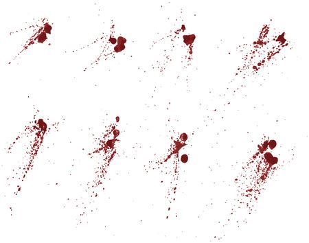 Elke splatter groeperen is op een eigen laag. Gemakkelijk toevoegen of aftrekken porties, 4 rood gebruikt tinten Stock Illustratie