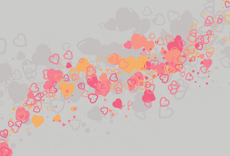 Messy swirling and flowing abstract heart love background. Each type of heart is on its own layer and grouped by color. Very easy to manipulate and change.