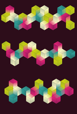 Each grouping of cubes and background are on separate layers. Simple gradients are used for color. Vector