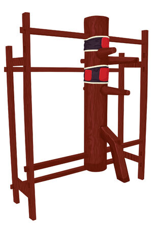 Wing Chun / Tsun wooden dummy training equipment. Front frame section, main body, arms/leg, back frame and punching targets are all on separate layers. Easily remove punching targets if wanted. 向量圖像