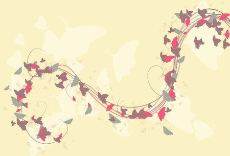 Butterflies, kronkelende lijnen, achtergrond elementen en achtergrond zich op afzonderlijke lagen Stock Illustratie