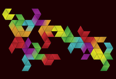 Each cube shape is grouped together on same layer. Simple gradients are used for color. Vector