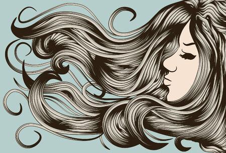 Gesicht, Haare und Hintergrund sind auf separaten Ebenen. Jede Haarsträhne ist einzelner-Objekt. Leicht Farben ändern oder Multi-colored zu machen.  Standard-Bild - 6175926
