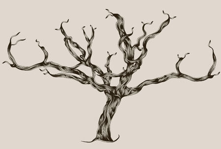 Stylized Illustrated hand drawn dead tree Stock Illustratie