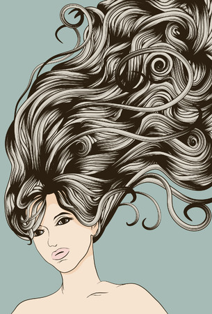 Woman's face with long detailed flowing hair Ilustração