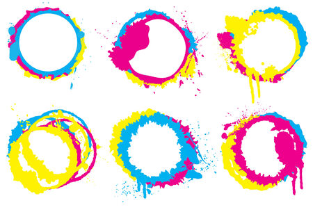 Grunge CMYK circle collection
