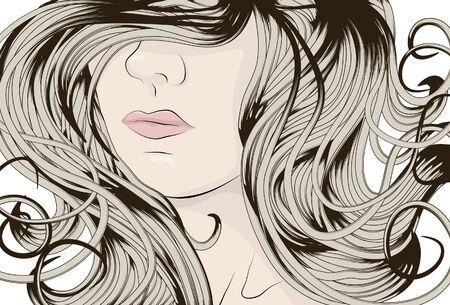 Frau Gesicht mit langen detaillierte lockiges Haar Standard-Bild - 6659071