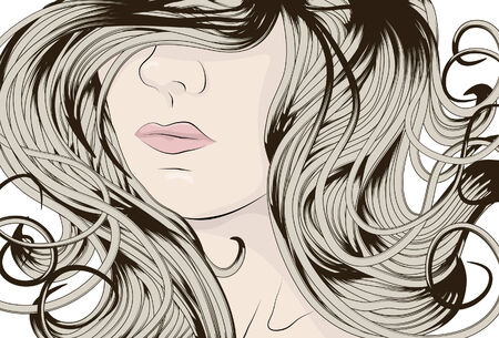 Womans face with long detailed curly hair Vector