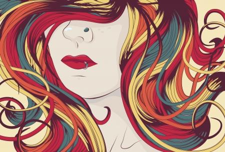 pelo ondulado: Cara de mujer con mucho colorido de pelo rizado  Vectores
