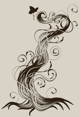 Hand drawn detailed abstract root Vector