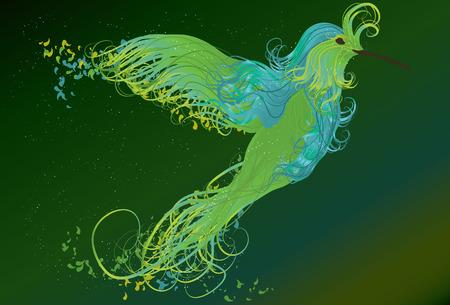 Abstract swirling humming bird illustration Vector