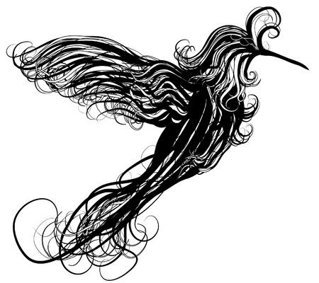 Abstracte wervelende neuriën vogel illustratie Stock Illustratie