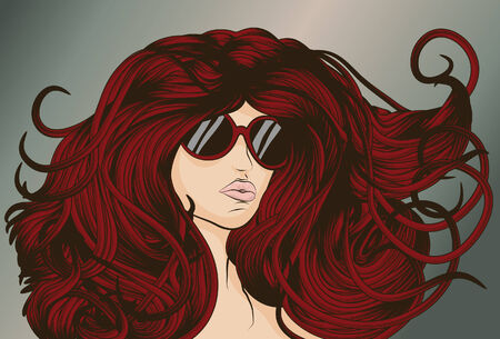 long night: Red Head with long detailed flowing hair