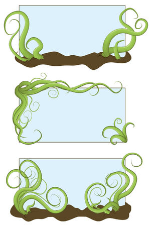 Illustrated jumbled vine frames in a hand drawn style
