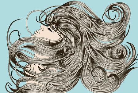 pelo ondulado: Cara de mujer voltear pelo detallada