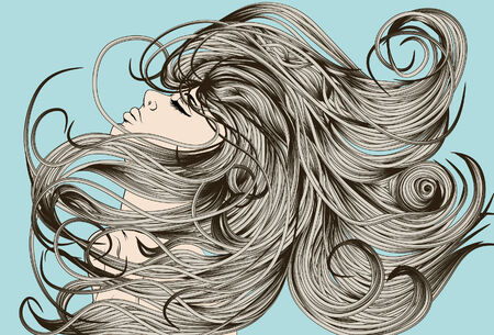 blue hair: Womans face flipping detailed hair