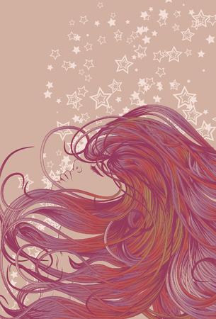 Vrouw gezicht met gedetailleerde kleurrijke haar  Stock Illustratie