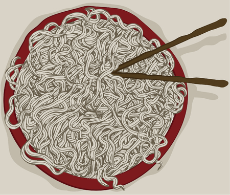 lo mein: Messy bowl of hand drawn noodles