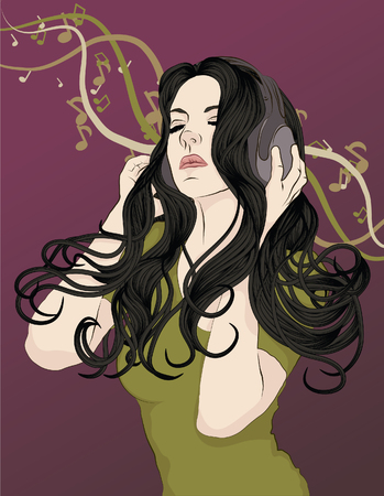 Woman with headphones and musical notes.