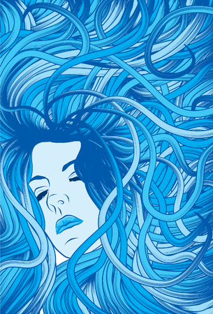 disheveled: Womans face with long detailed flowing blue hair