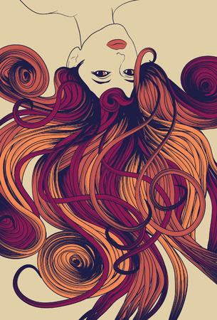 yellow hair: Capovolto il volto di donna con capelli fluenti lunghi dettagliato