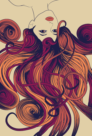 Upside down woman's face with long detailed flowing hair