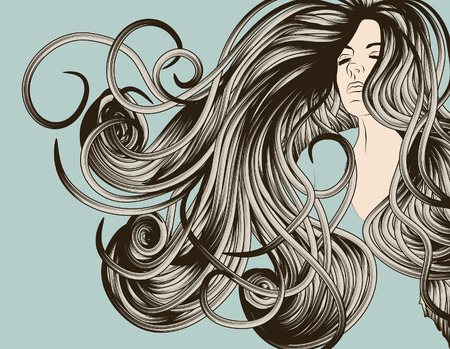 Womans face with detailed flowing hair Çizim