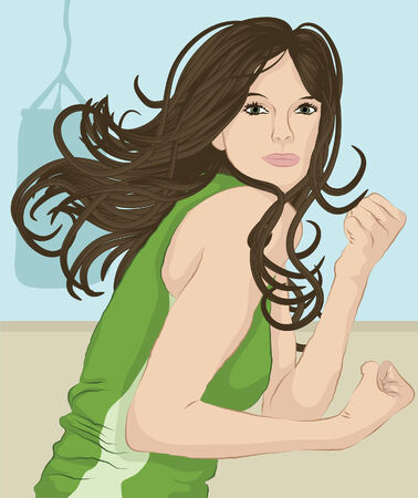 Woman with long hair working out at the gym Stock Vector - 6854902